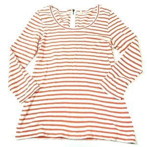 J. Crew Coral and White Striped Painter Zip Tee